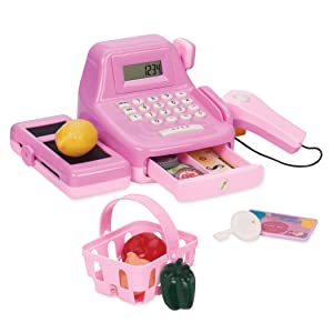 Play Circle by Battat – Cha-Ching Cash Register Set – 26-piece Kids Toy Cash Register With Scanner, Calculator, Money, and Sounds – Plastic Cash Register Toy For Kids Age 3 Years and Up