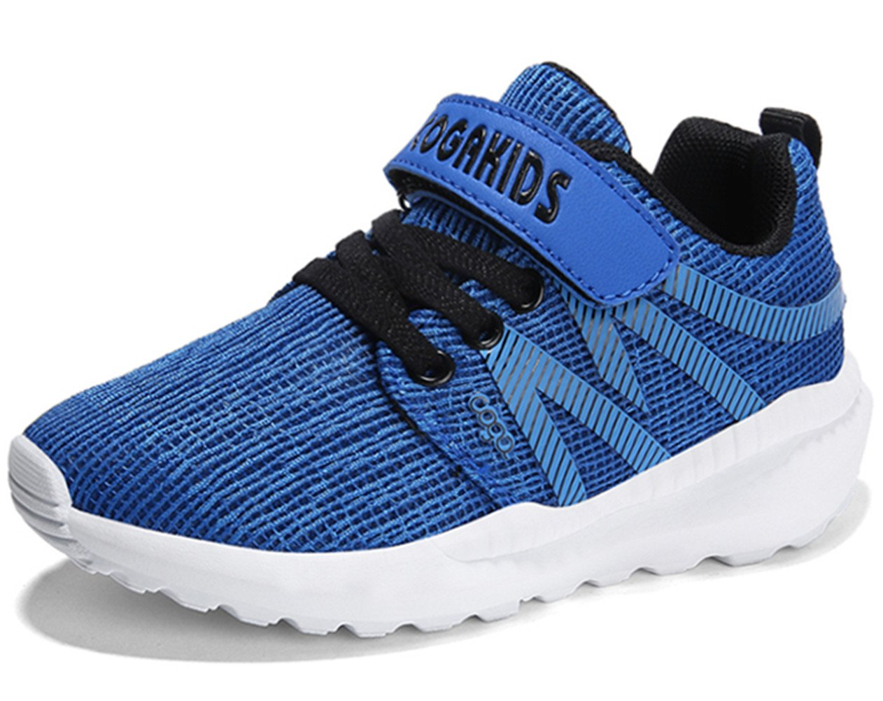 DADAWEN Boy's Girl's Breathable Strap Casual Tennis Athletic Sneakers Running Shoes Blue US Size 4 M Big Kid