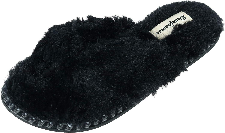 NEW Dearfoams Slippers Women/'s Spa Thong White Fluffy Fur S M L XL 6 7 8 9 10 11