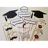 Veewon 2017 Foto Graduation Props Photobooth Partito Favore 17pcs Occhiali Mustache Rosso Labbra Cravatte arco sul bastone Grad Party Decorazioni