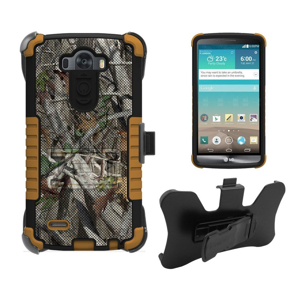 LG G3 Case, D850, VS895,LS990, D851, Beyond Cell Tri Shield High Impact Armor Hybrid Rugged Case With Built in kickstand, Belt Clip Holster FREE Screen Protector Autumn Camouflage