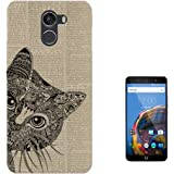 002630 - Vintage Newspaper Aztec Cat Face Design Wileyfox Swift 2 / 2 Plus Fashion Trend Case Gel Rubber Silicone All Edges Protection Case Cover