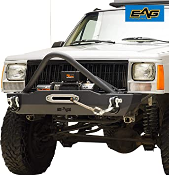 EAG Front Bumper with Winch Plate /& Winch Plate for 84-01 Jeep Cherokee XJ