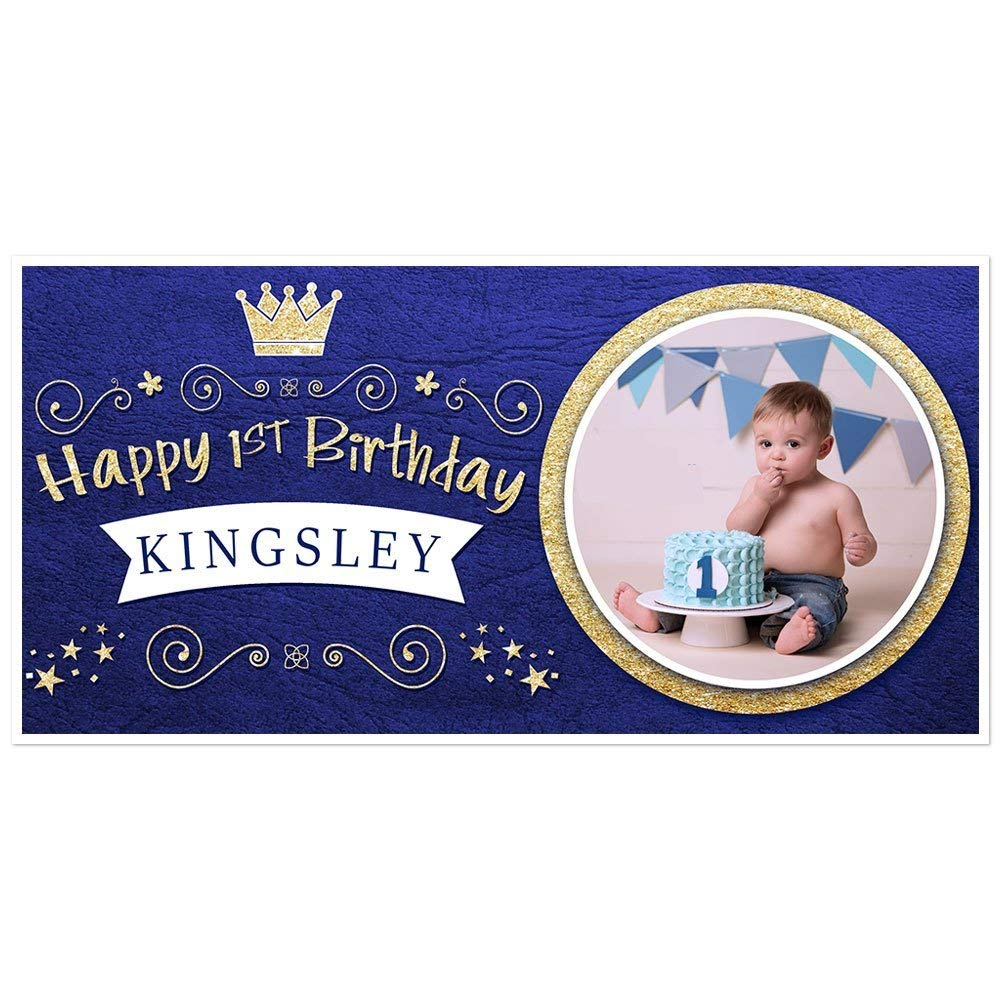Royal Blue and Gold Prince Crown Birthday Banner Personalized Photo Party Backdrop