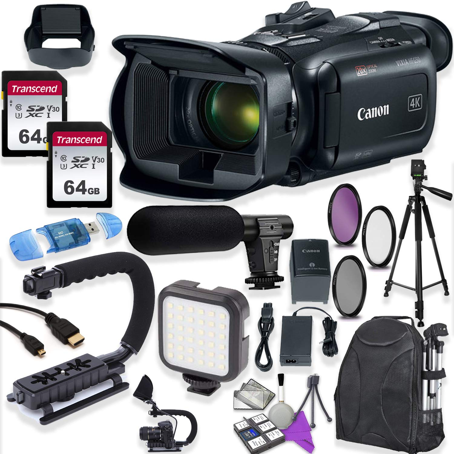 Canon Vixia HF G50 UHD 4K Camcorder with Premium Accessory Kit Including Padded Backpack, Microphone, Video Light & 128GB High Speed U3 Memory by Canon