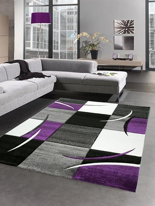 Carpetia Designer Rug Living Room Carpet Karo Purple Grey Cream Black Size 120x170 Cm Amazon Co Uk Kitchen Home