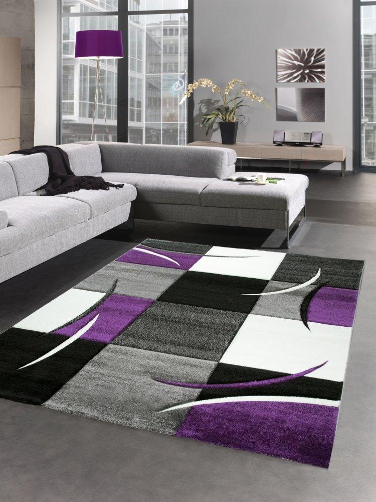 Designer Teppich Wohnzimmerteppich karo lila grau Creme schwarz Größe 200 x 290 cm