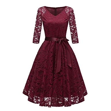 2018 Autumn Lace Dresses Femme 34 Sleeve V Neck Women Red