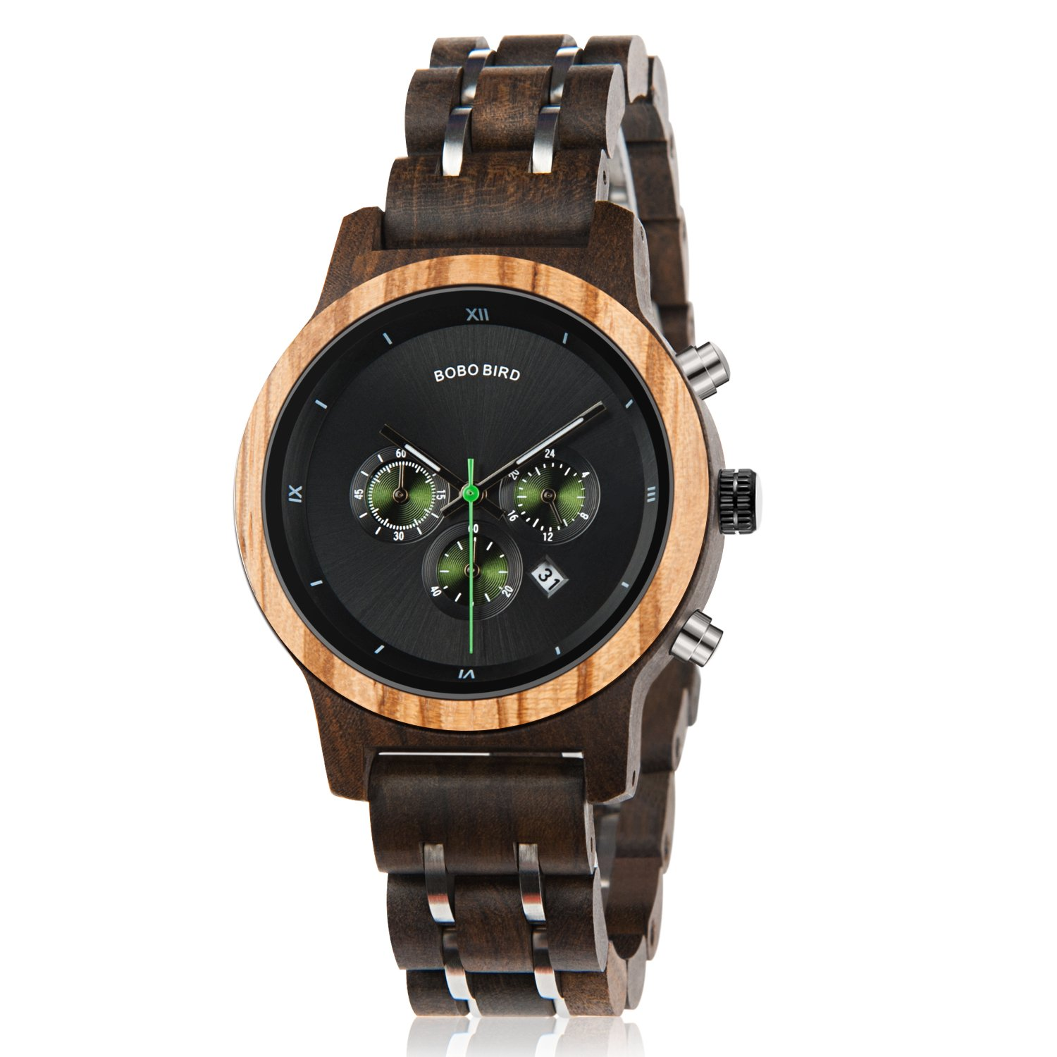 Women Wooden Watches Wood & Metal Strap Chronograph Date Display Luxury Quartz Watch Female Casual Wristwatches