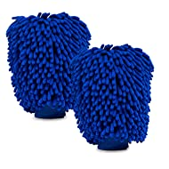 2 Pack of Extra Large Size Premium Microfiber Chenille Super Absorbent Wash and Wax Glove, Car Wash Mitts (Blue)