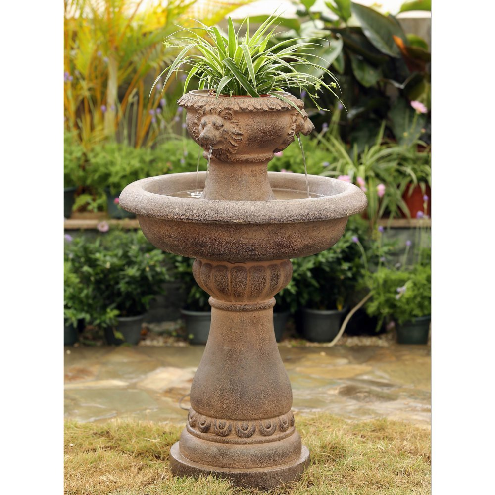 Jeco Multi-Tier Lion Head Indoor/Outdoor Fountain