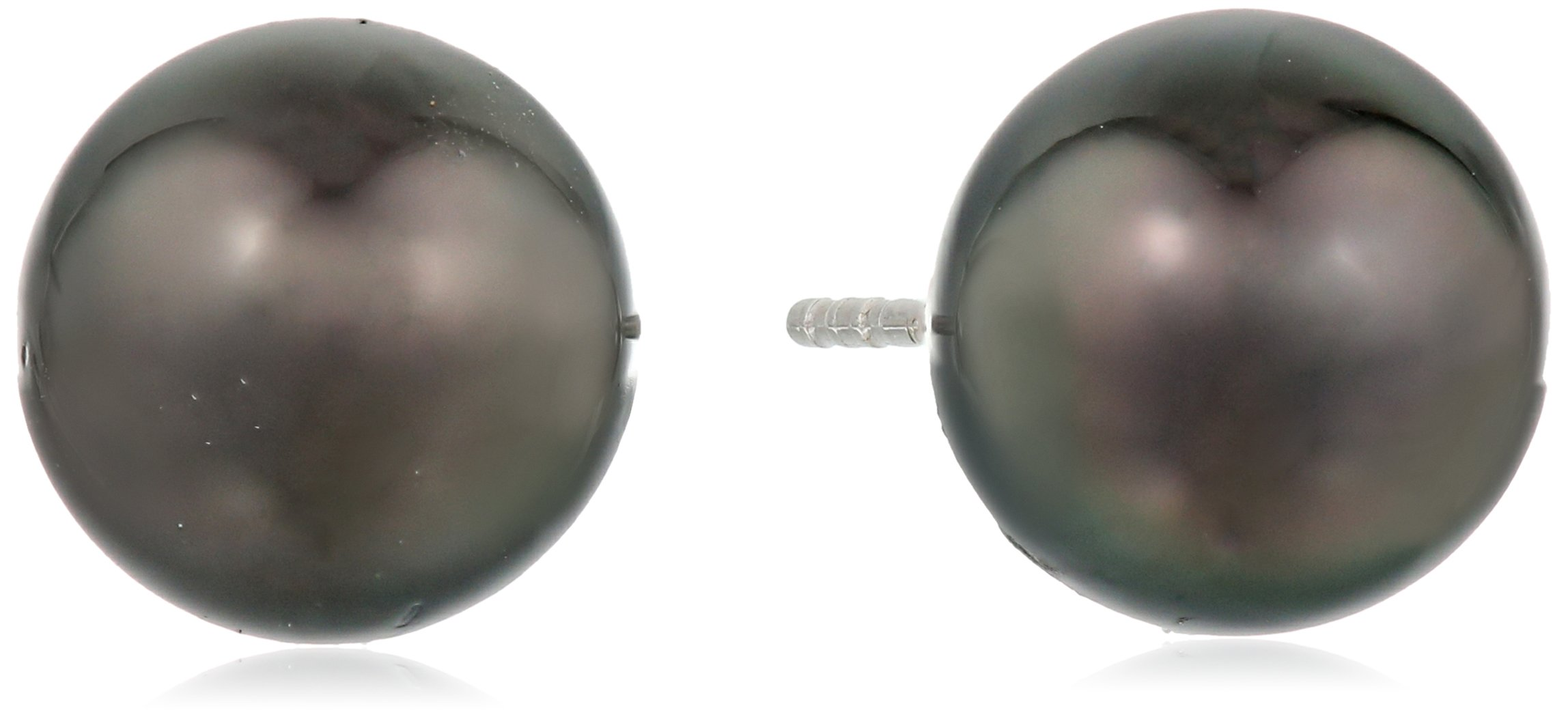 TARA Pearls ''Classic Collection'' 18k White Gold Natural Color Tahitian Cultured Pearl Stud Earrings, 10-11mm