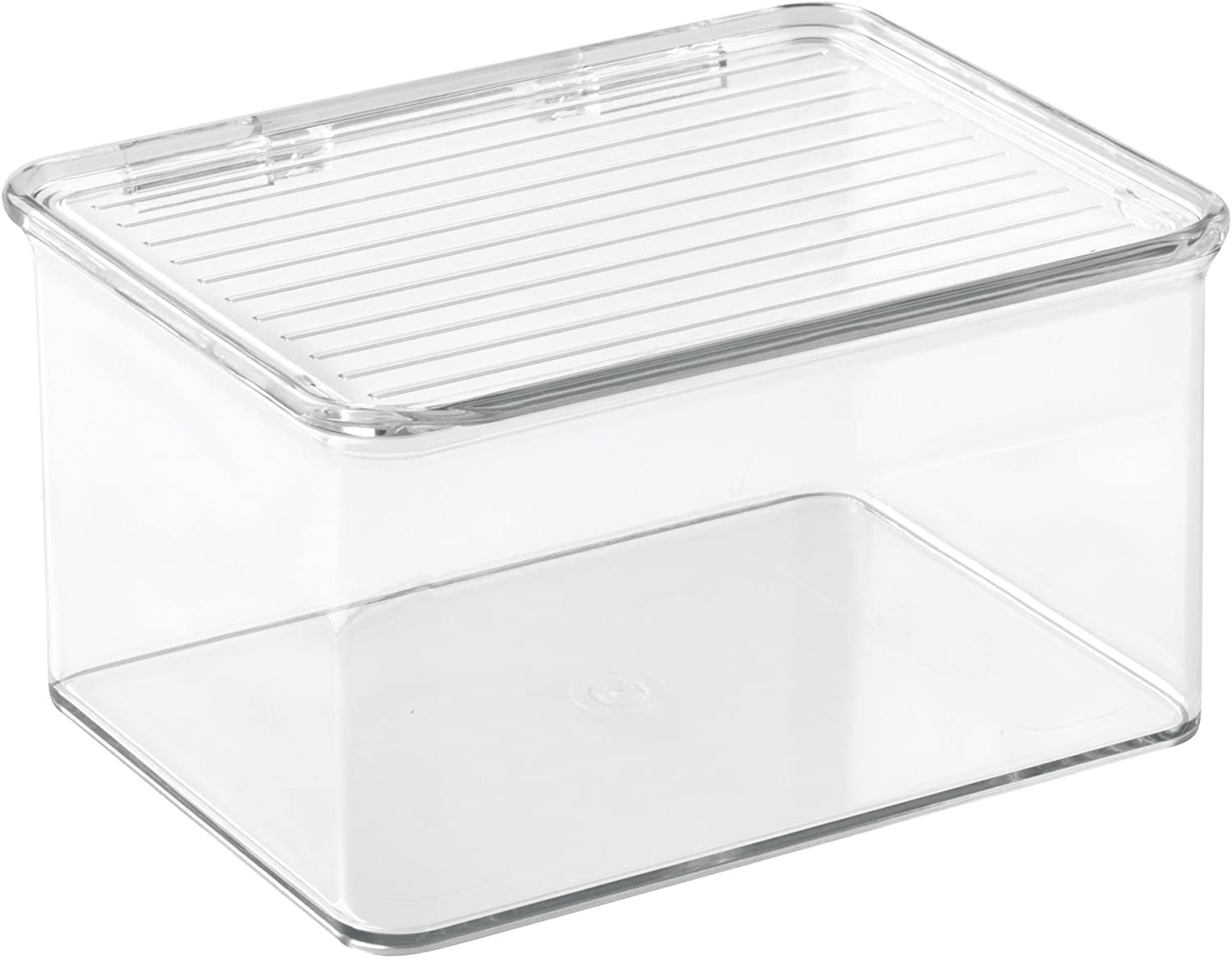iDesign Kitchen, Pantry, Refrigerator, Freezer Storage Container with Hinged Lid, 1.5-Quart, Clear