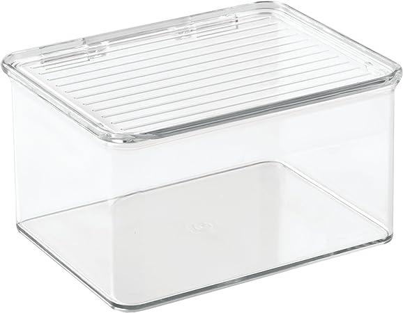 InterDesign Cabinet/Kitchen Binz Cajas de almacenaje, organizadores de cocina pequeños de plástico, cajas apilables con tapa para comida, transparente: Amazon.es: Hogar