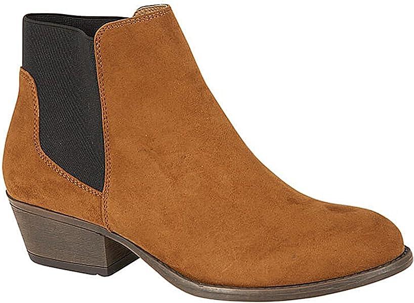 Ladies Khaki Blue Ankle Boots Low Mid Block Heels Chelsea Zip Up Shoes Sizes 3-8
