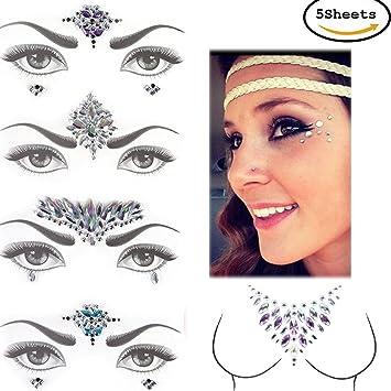 Amazon.com   CosCosX 5 Sheets Crystal Festival Face Jewels Gem Nipple Chest  Sticker Party Bindi Body Jewelry Stickers Nightclub Masquerade Rhinestone  Makeup ... 9d41fd9187e9