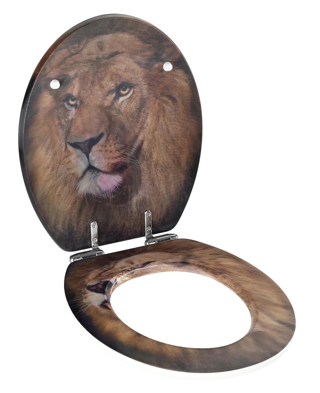 Wenko WC-Sitz Lion mit 3D-Effekt Toiletten-Sitz mit mit mit Absenkautomatik, rostfreie Fix-Clip Hygiene Zinkdruckgussbefestigung, 45 x 38 cm, Mehrfarbig B07CTPJSNS WC-Sitze 49fc25