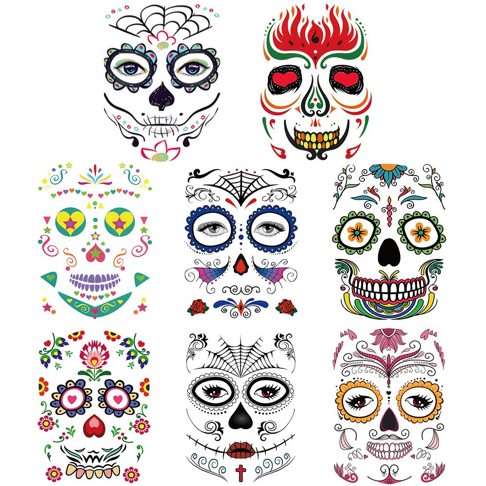 Halloween Temporary Tattoos Face (8 Pack), Sugar Skull Stickers Day of The Dead Scary Makeup Makeup Ideas Masquerade and Parties
