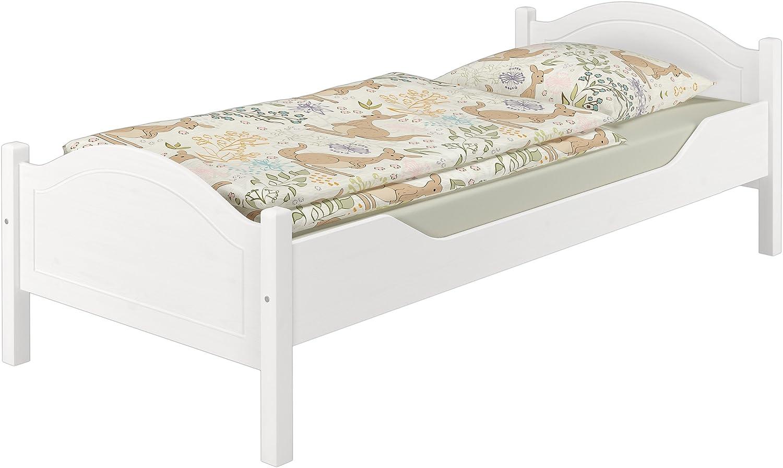 Erst-Holz Lit pin Massif Blanc 100x200 cm lit de Jeunesse sommier /à Lattes Flexibles et Matelas 60.30-10WFLM