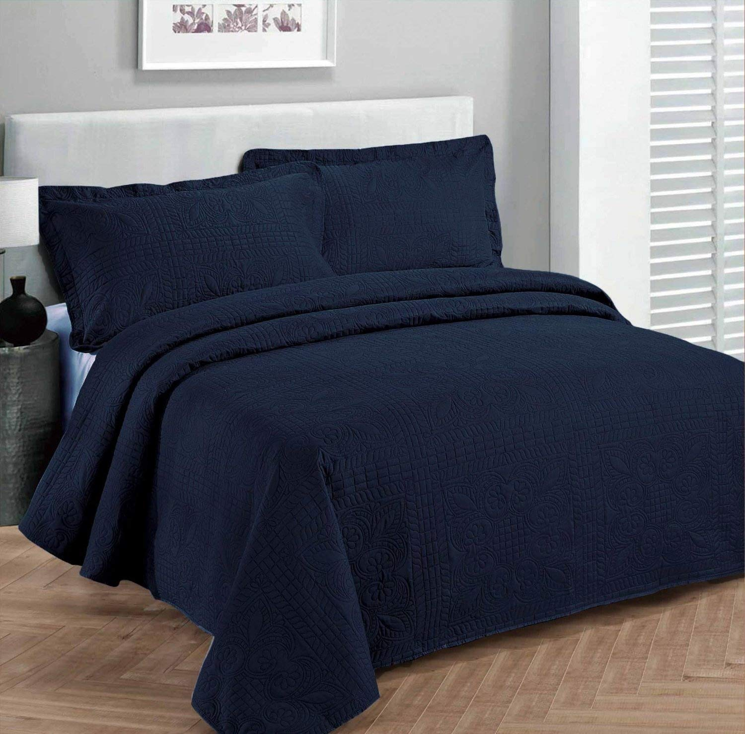 Fancy Collection 2pc Luxury Bedspread Coverlet Embossed Bed Cover Solid Navy Blue Over Size New Twin/Twin xl FANCY LINEN