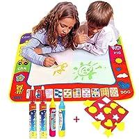 TQP-CK 80CMx60CM Doodle Magic Tapis De Dessins 4 Couleur, Dessin Peinture Mat écriture 4 Doodle Water Magic Stylo + 1 Stencil