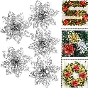 Glitter Poinsettia Christmas Tree Flowers Ornaments - 5PCS 4
