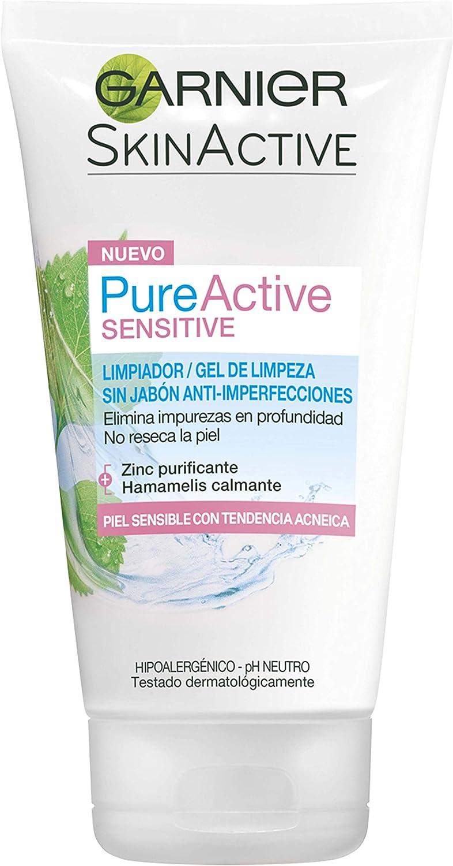 Garnier Skin Active Pure Active Sensitive Limpiador de poros sin Jabón Anti-Imperfecciones para Pieles Sensibles, con Zinc y Extracto de Hamamelis - 150 ml