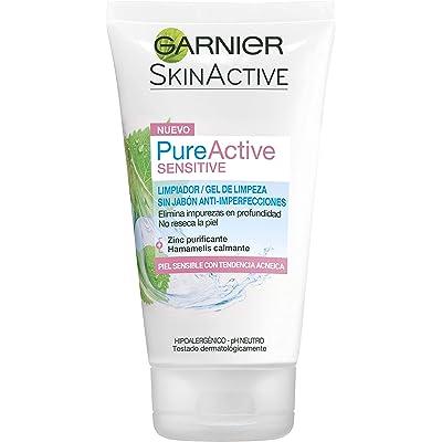 Garnier Skin Active - Pure Active Sensitive, Limpiador de Poros sin Jabón, con Zinc y Extracto de Hamamelis, para Pieles Sensibles, 150 ml