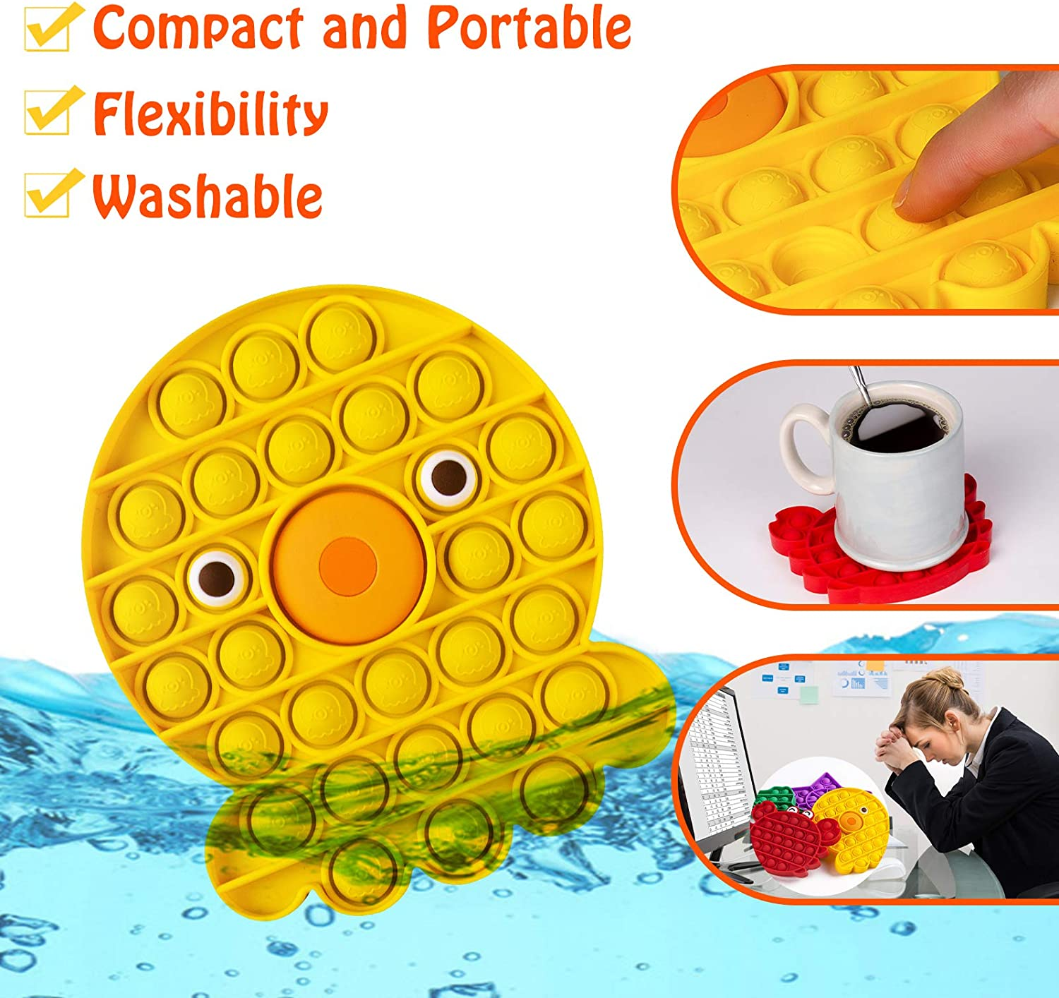 4 Pcs Push Pop Bubble Fidget Sensory Toy Bubble Pop Stress Anxiety Relief Toys for Autism ADHD Special Needs