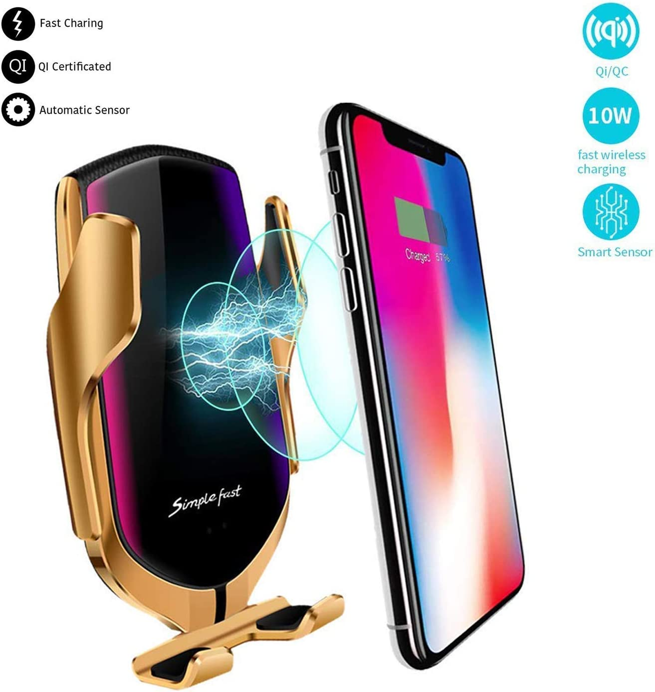 Wireless Car Holder /& Charger for Cell Phones Magnetic with Automatic Clamping /& Sensing Qi 10W Fast Charging Gold iPhone,Samsung,Lg /& Most Smartphones. Air Vent Mount