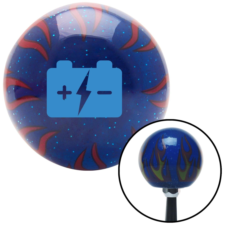 American Shifter 20093 Blue Metal Flake Shift Knob with 16mm x 1.5 Insert Orange Transfer Case 3