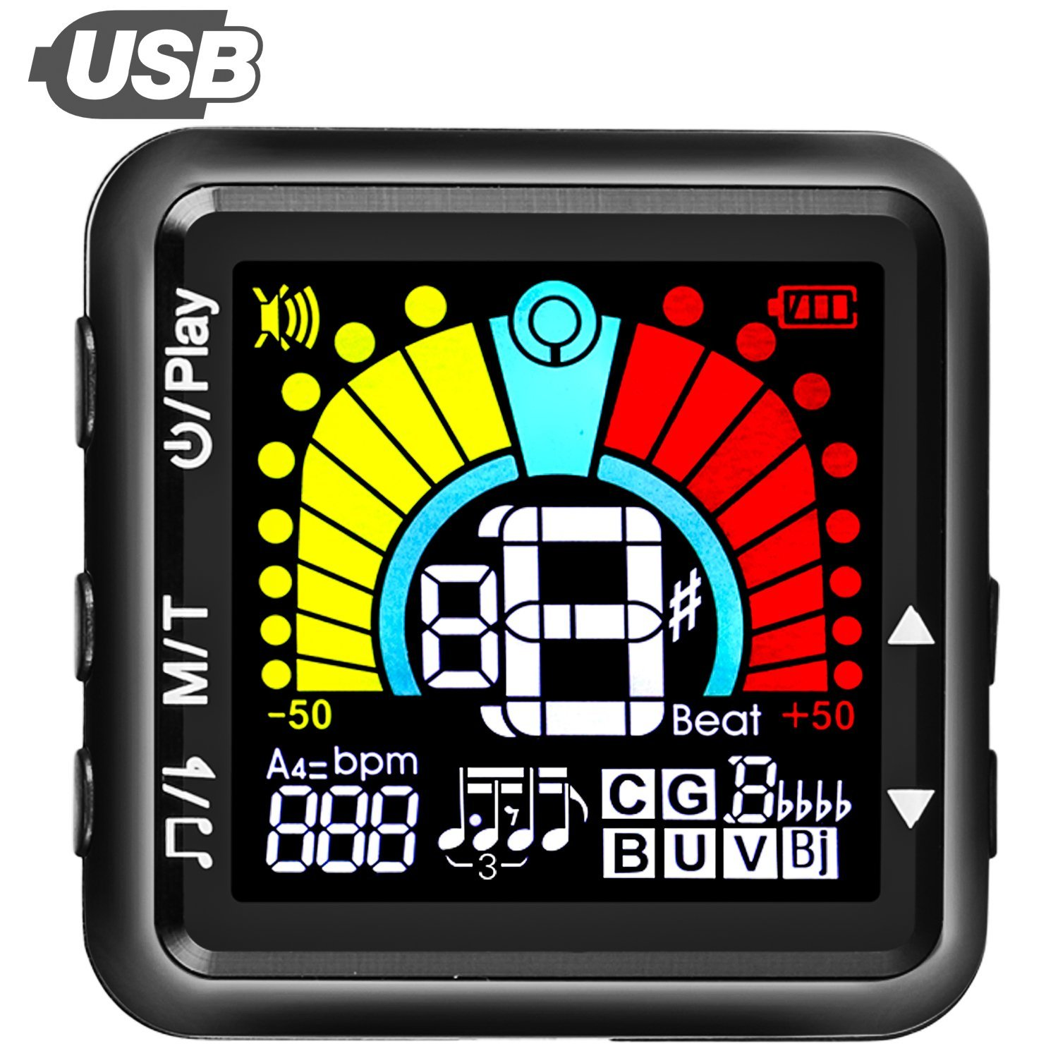 USB Rechargeable Guitar Tuner, Clip on Tuner for All Instruments, with Guitar, Bass, Violin, Ukulele & Chromatic Tuning Modes