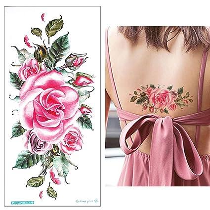 Rosas tatuaje pegatinas Fake Tattoo Color Rosa qc701: Amazon.es ...