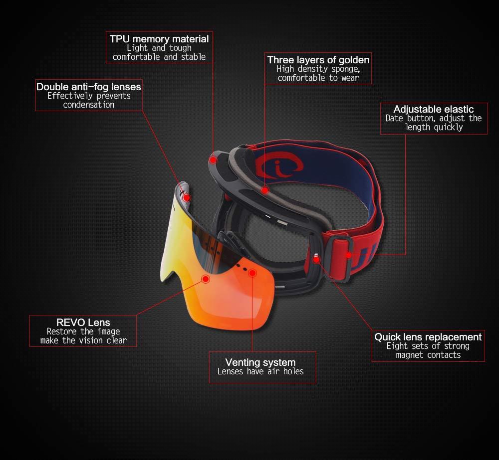 CARWORD Schneebrille für Männer Frauen Frauen Frauen Jugend Skifahren Schneemobil Brillen & Helm Kompatibel OTG Über Brille Belüftet B07MKCNH2K Skibrillen Qualitätsprodukte 02fb2b