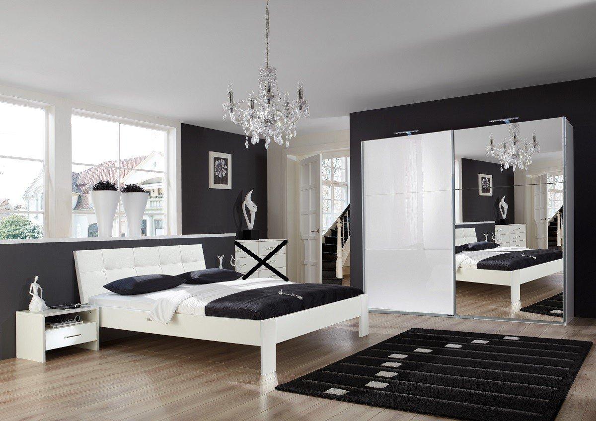 Dreams4Home Schlafzimmerset 'Lina I' - Schwebetürenschrank B/H/T: 225 x 210 x 64 cm, Doppelbett 160 x 200 cm, 2 x NaKo B/H/T: 53 x 39 x 38 cm, ohne Matratze, ohne Lattenrost, Schlafzimmer, Jugendzimmer, in Perlglanz softwhite + Alpinweiß