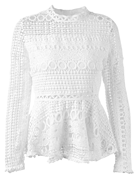 8c7be90e505432 SUNJIN ARCO Women's Elegant Lace Tops Hollow Out Long Sleeve Peplum Hem  Shirt Sheer Blouse at Amazon Women's Clothing store:
