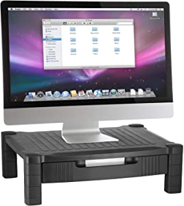 Halter Monitor Stand Riser Computer Desk Organizer with Pull Out Drawer - for Laptop, Screen, Printer, Keyboard, Tablet, Cable Management Storage - Plastic | Black