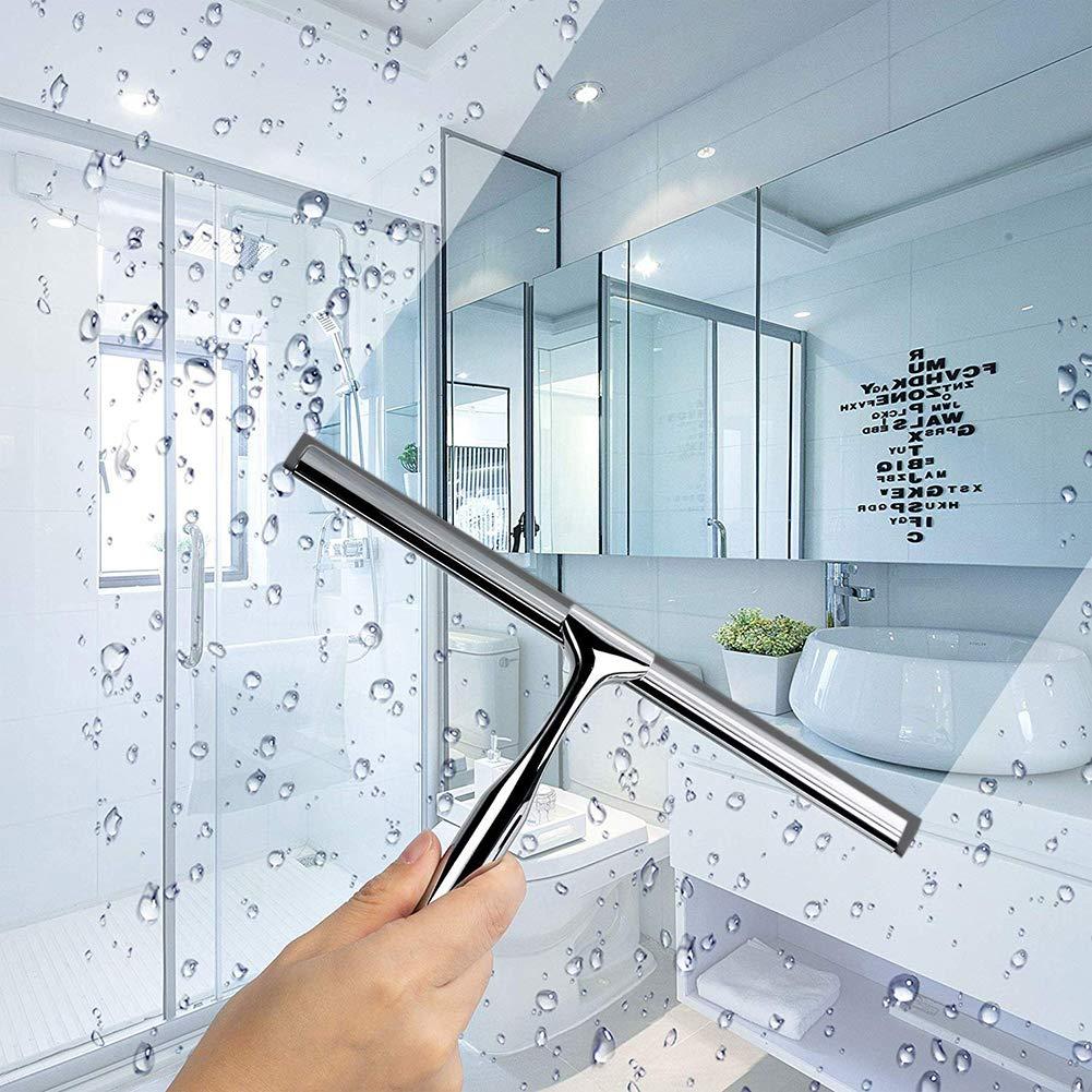M/étal Salle de bain douche Raclette verre mur balai FEN/ÊTRE Essuie-glace avec support antid/érapant Poign/ée