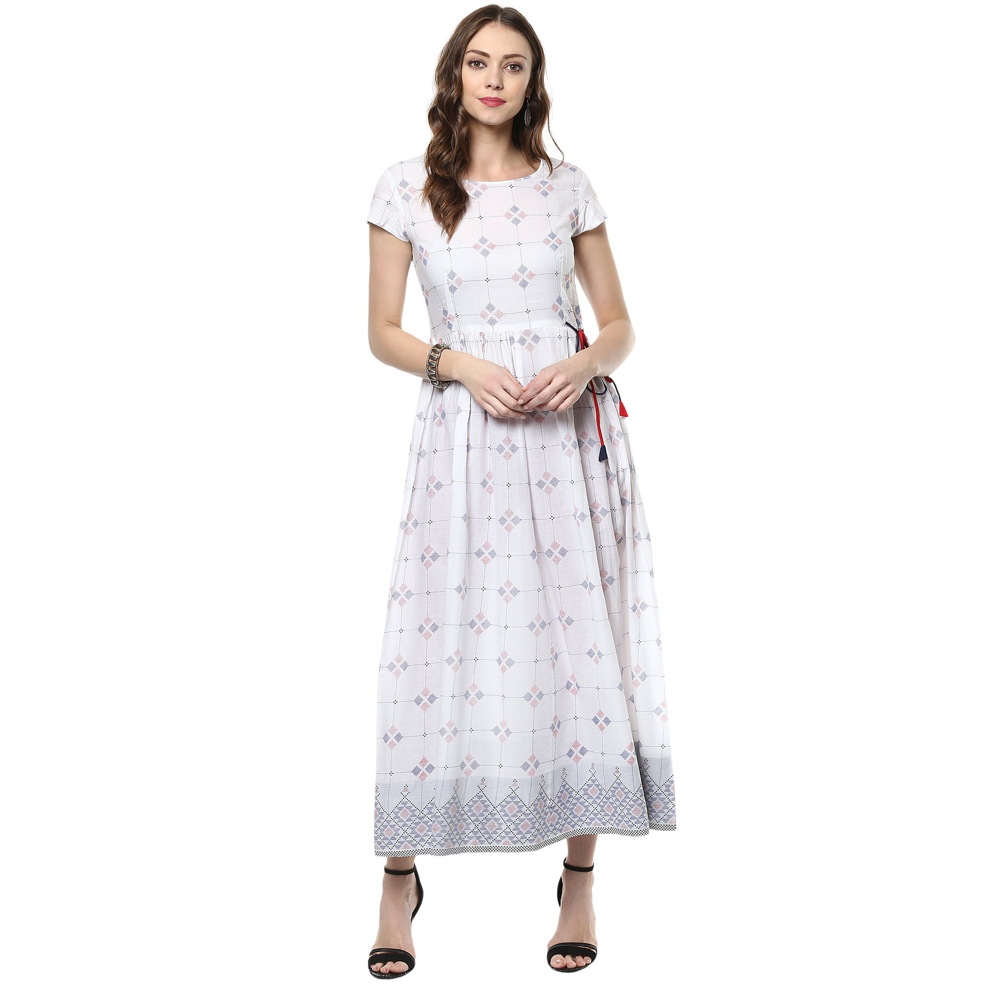 Indian Virasat Women's Beautiful Printed Cotton Flaired Anarkali XX-Large White Tunic Kurti