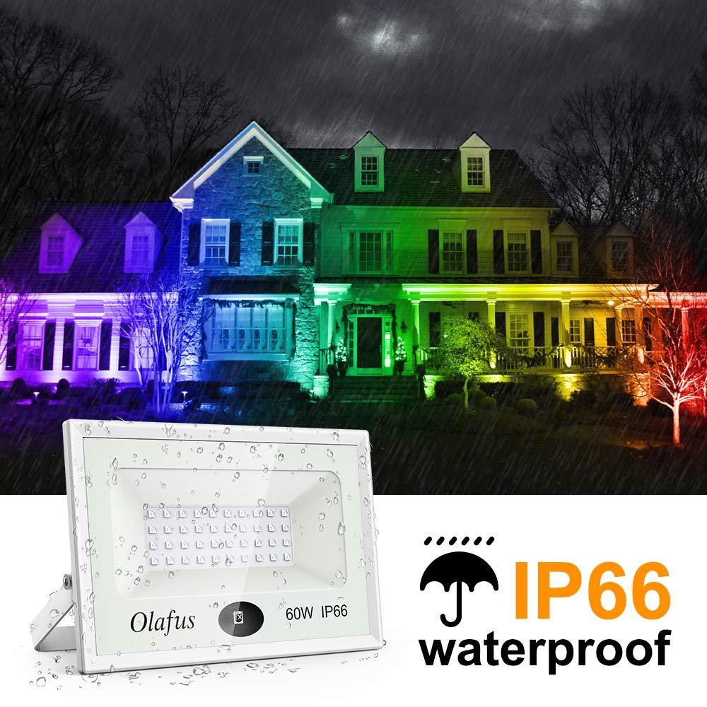 Olafus 2er RGB 35W LED Strahler mit Fernbedienung 16 Farben 4 Modi Memory-Funktion LED Fluter Flutlicht IP66 Wasserdicht Aussenstrahler Stimmungslichter f/ür Weihnachten Halloween Party Garten Deko