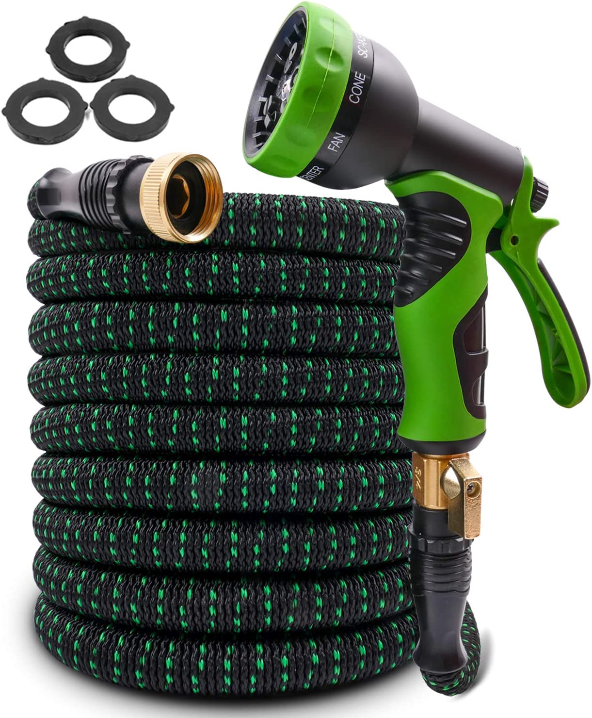 """2020 Upgraded Expandable Garden Hose 100ft Retractable Water Hose Flexible Garden Hose with 3/4"""" Solid Brass Connectors, 9 Modes Spray Nozzle, Ideal Choice for Watering and Washing"""