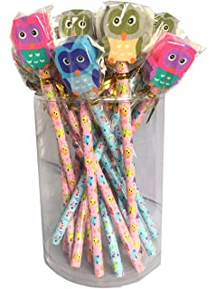 c1a1d470e7f36 SET OF 4 CUTE OWL PENCILS WITH OWL ERASERS IDEAL PARTY GIFT: Amazon ...