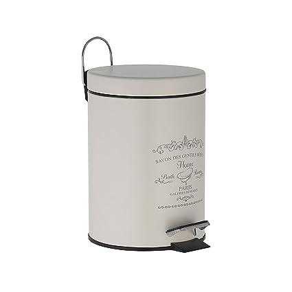 Treteimer 3 Liter In Altweiss Mulleimer Als Abfalleimer Kosmetikeimer Fur Badezimmer Kuche Aus Metall Mit Frontdruck Mulleimer Mit Deckel