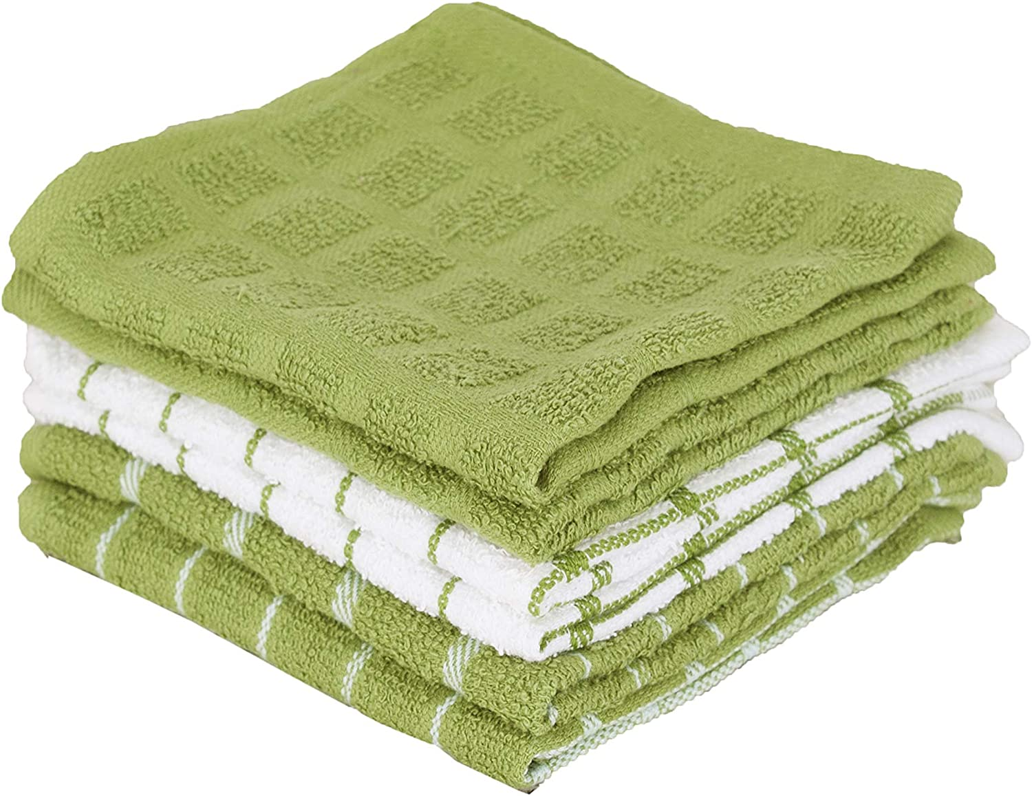 """Ritz 100% Terry Cotton, Highly Absorbent Dish Cloth Set, 12"""" x 12"""", 6-Pack, Cactus Green"""