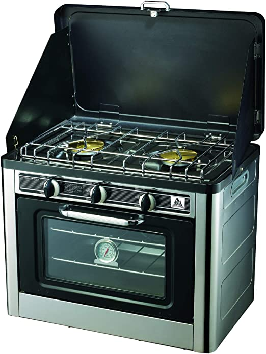 Super grills - Horno de Gas portátil para Camping (Acero Inoxidable, 2 quemadores, para cocinar)