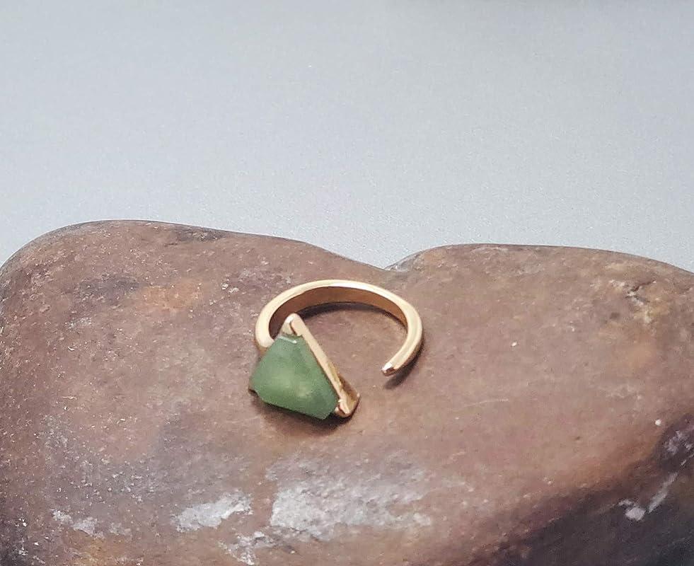 Adjustable Yellow Jade Stone Teardrop Gold Plated Ring