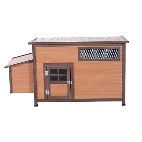 Pawhut de madera pollo gallina gallinero jaula de PET Hutch Corral Arca Run cámara con caja