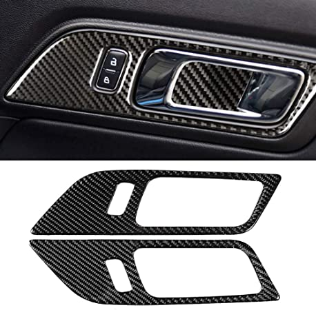 Qii lu 2Pcs Left Driving Door Decoration Strip ,Carbon Fiber Interior Door Decoration Strip Trim Fit for Ford Mustang