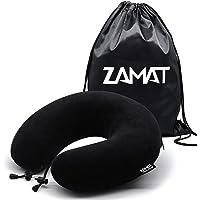 ZAMAT Breathable & Comfortable Memory Foam Travel Pillow, Adjustable Travel Neck Pillow for Airplane Travel, 360° Stable Neck Support Airplane Pillow with Soft Velour Cover, Portable Drawstring Bag