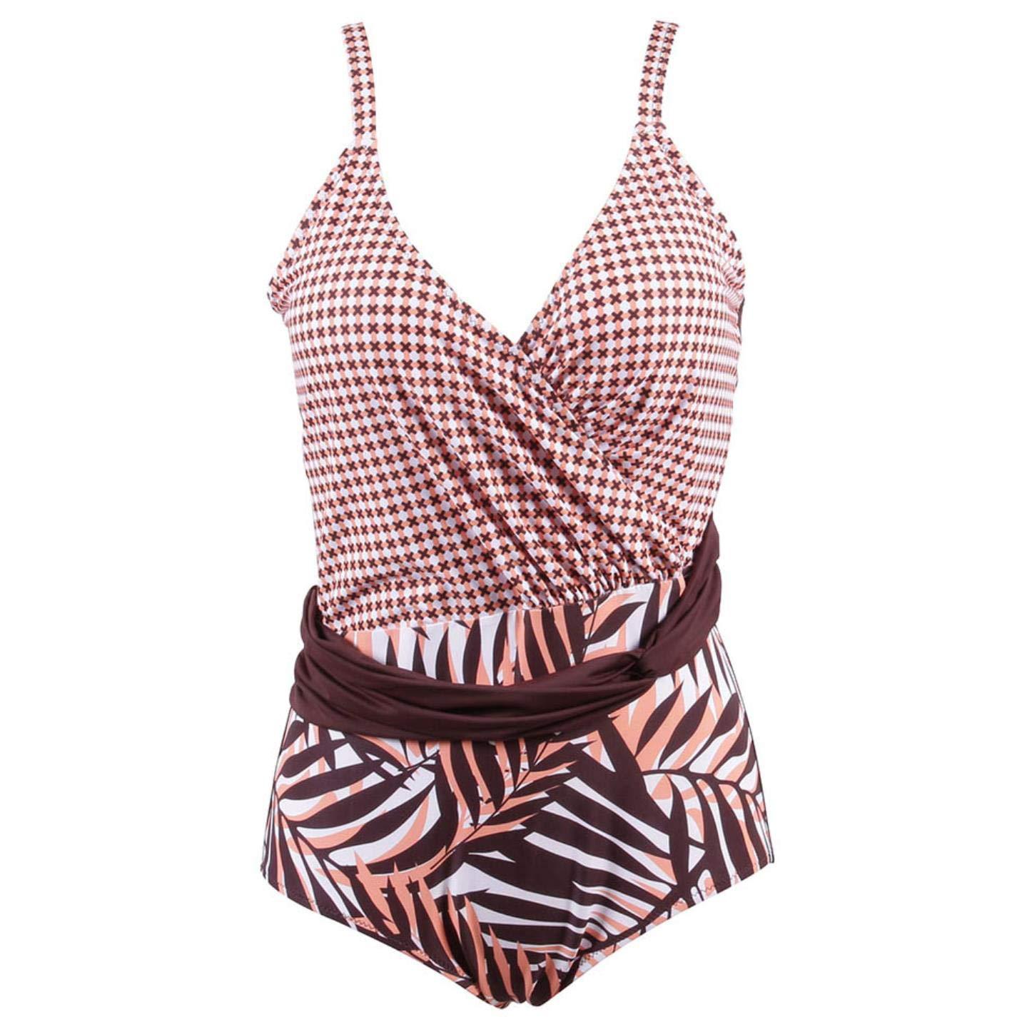 QVKis Women Plus Size Swimwear Retro Print One Piece Swimsuit